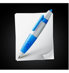 icon - paper pages with blue pen vector image