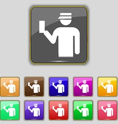 Inspector icon sign set with eleven colored vector