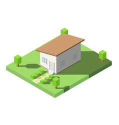 Isometric of house with orange lean roof on the vector