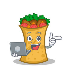 Kebab wrap character cartoon with laptop vector