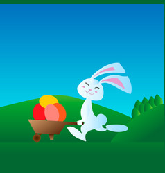 Little rabbit is involved in running races vector