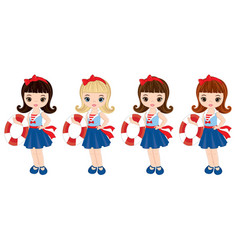 nautical little girls with buoys vector image vector image