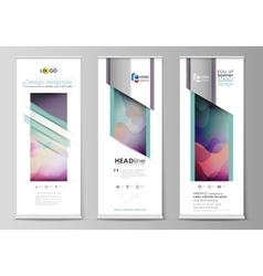 Roll up banner stands flat geometric style vector