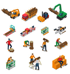 sawmill timber mill lumberjack icon set vector image vector image