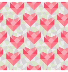 Seamless geometric pattern with origami hearts vector image vector image