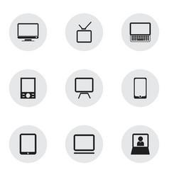 set of 9 editable gadget icons includes symbols vector image vector image