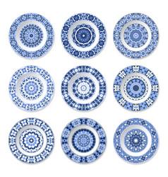 Set of decorative plates vector