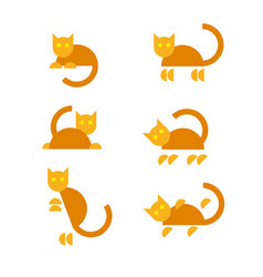 Set of funny orange cats in different poses vector