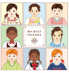 set of portraits avatars of various kids children vector image