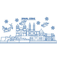 Spain cadiz winter city skyline merry christmas vector