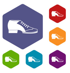Tango shoe icons set hexagon vector