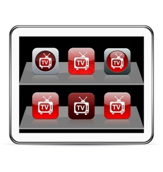 TV red app icons vector image vector image