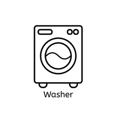 washer simple line icon washing ma hine thin vector image vector image