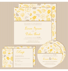 Wedding invitation set yellow vector