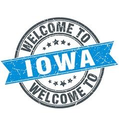 Welcome to iowa blue round vintage stamp vector