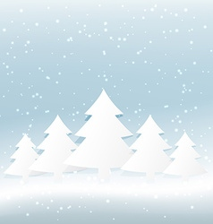 Christmas tree in snowy background vector