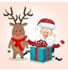 Santa claus reindeer gift merry christmas isolated vector