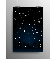 Vertical poster starry night sky star city moon vector