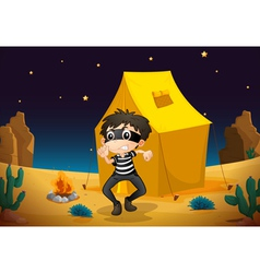 A tent house and a boy vector