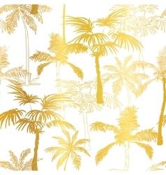Golden palm trees summer seamless pattern vector