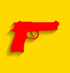 Gun sign   red icon with soft vector