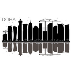 Doha city skyline black and white silhouette with vector