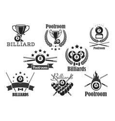 billiards contest icons or emblems set vector image