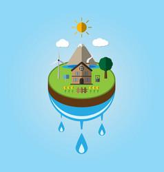 paper cut art of ecology go green environment vector image