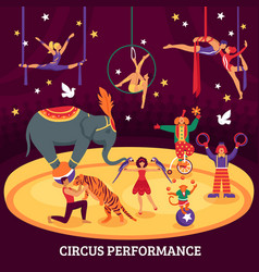 Circus performance flat composition vector