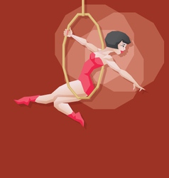 Pin-up cartoon girl circus aerial artist vector