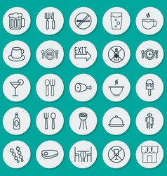 Eating icons set collection of sorbet dining vector