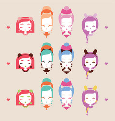 Cute girls with cat heads vector