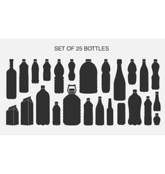 25 isolated shapes of bottles vector