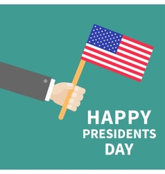 Hand with american flag presidents day background vector