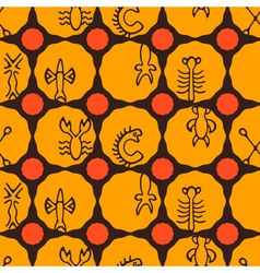 Seamless background with rongorongo glyphs vector