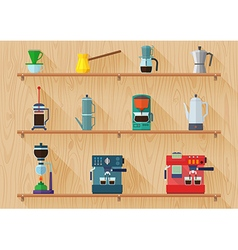 All type of coffee maker on shelf and wood texture vector