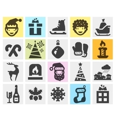 Christmas xmas set black icons signs and symbols vector
