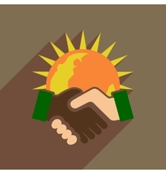 Flat web icon with long shadow handshake vector