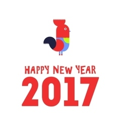 Happy new year of the red rooster greeting card vector