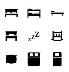 black bed icon set vector image