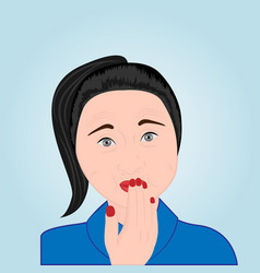 A girl trying to avoid belching vector