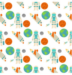 astronaut space landing planets spaceship seamless vector image