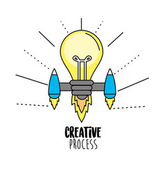 Bulb with thrusters to creative process vector
