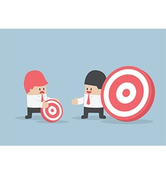 Businessman has bigger target than his friend vector image vector image