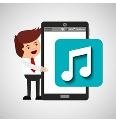 cartoon man smartphone app music vector image