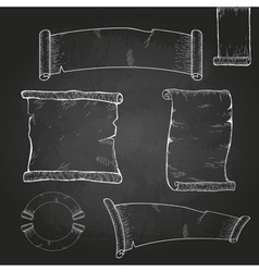 Chalk drawing Set of ribbons vector image