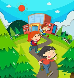 Children leaving school after classes vector