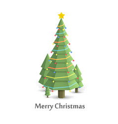 christmas tree in the woods flat style vector image
