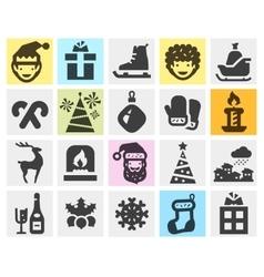 Christmas xmas set black icons signs and symbols vector image vector image