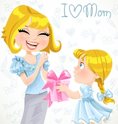 Daughter gives mom a gift for mothers day vector